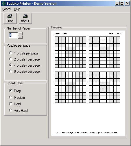Screenshot of Sudoku Printer